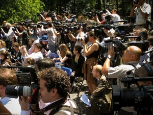 Large Group of Reporters with Cameras in Central Park Image medium_1805323291